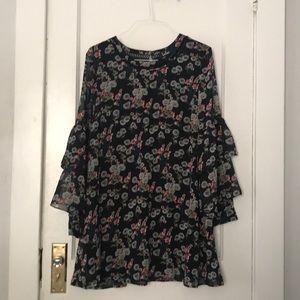NWT black floral midi Lulu dress